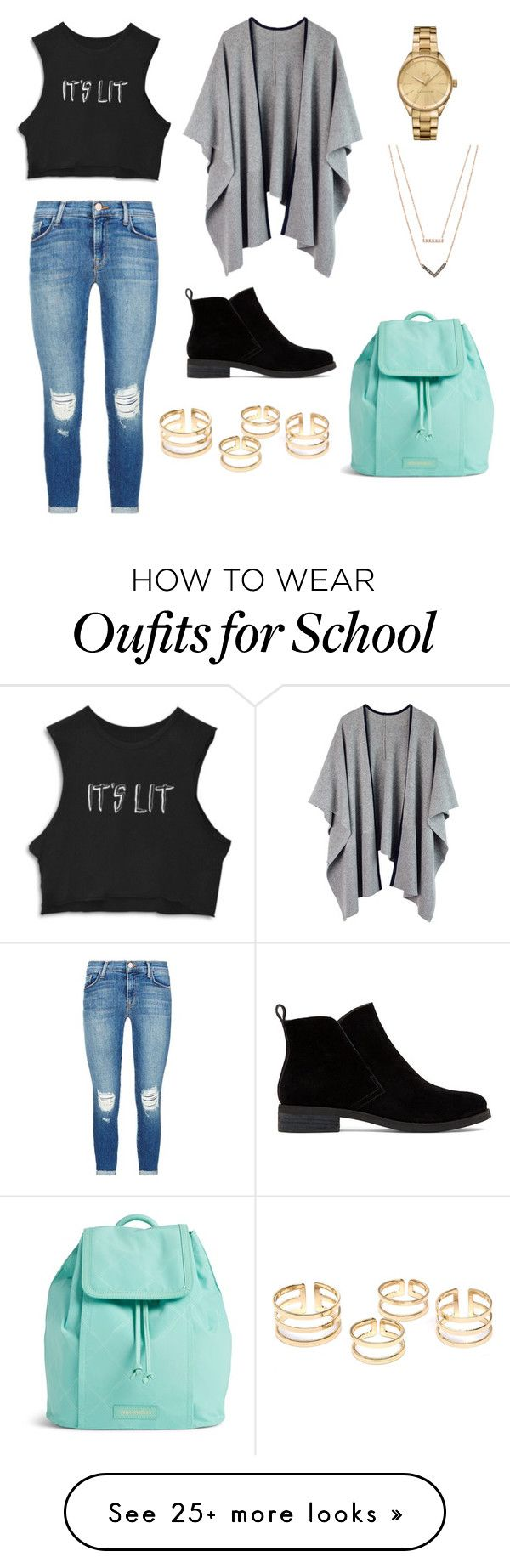 """""""high school"""" by fashion-life23 on Polyvore featuring J Brand, Lucky Brand, Lacoste, Michael Kors, Vera Bradley, women's clothing, women's fashion, women, female and woman"""