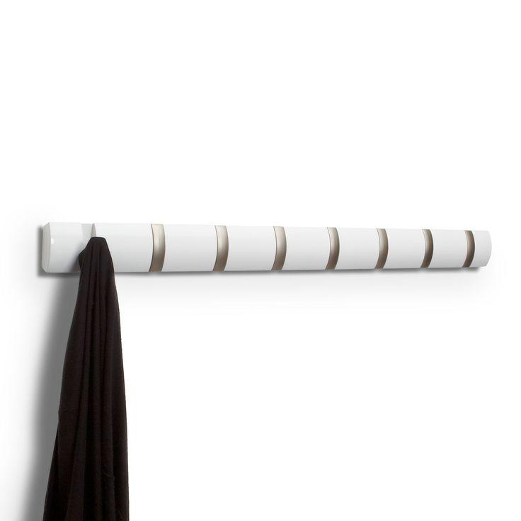 Valkoinen Flip naulakko kahdeksalla koukulla