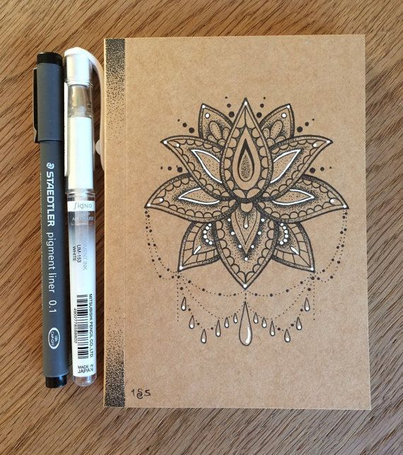 A6 Hand Illustrated Notebook/Journal/Sketchbook with Dotwork Lotus Flower…