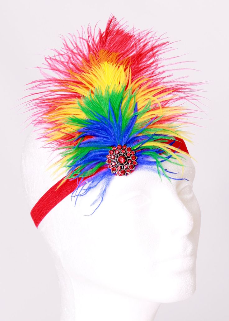 Paradise Parrot Stretchy Feather Headband - Scarlett Macaw Bird Costume Accessory: Fits toddler to adult. $15.00, via Etsy.