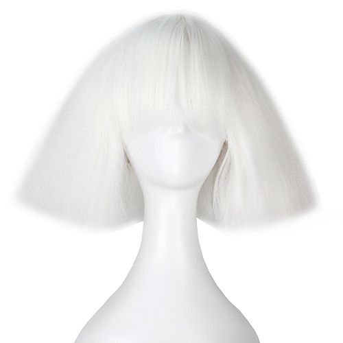 Women Synthetic Wigs Capless Short Kinky Straight Yaki White Bob Haircut With Bangs Lolita Wig Party Wig Halloween Wig Carnival Wig 2018 - $17.99