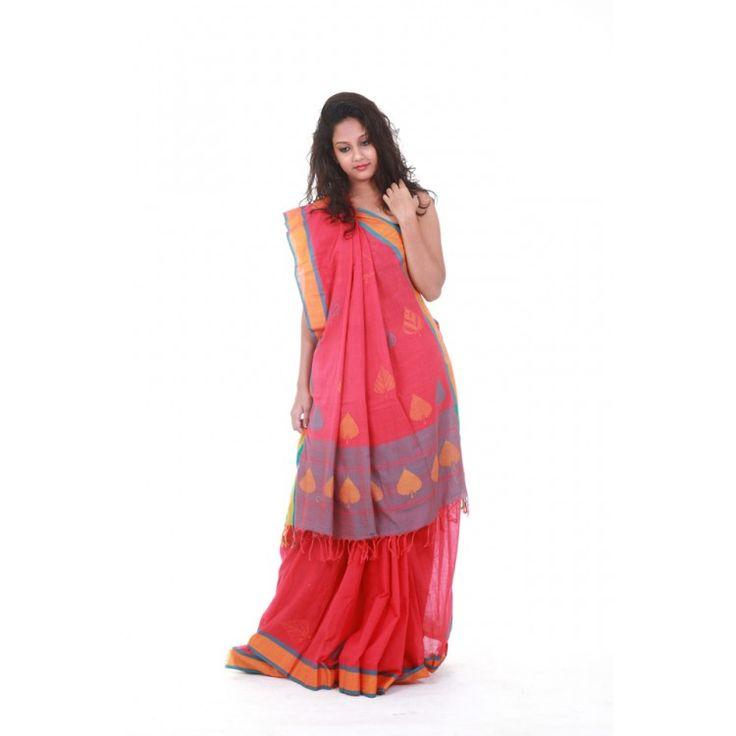 Cotton Silk Peach & Pink Saree