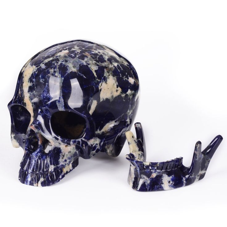 "New arrival !10""Natural Sodalite carved skull with detachable Jaw"