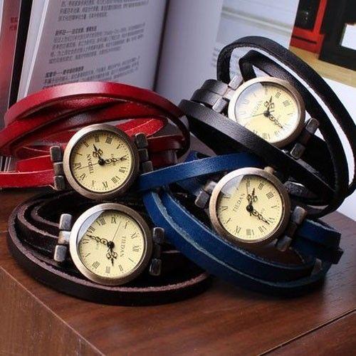 Quartz horloge met leren armband in 8 kleuren - Vault24