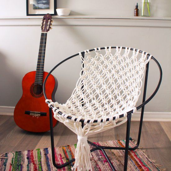 make a macrame hammock chair using the frame of an old