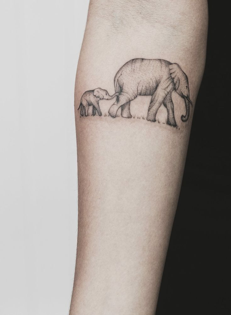Mum and baby elephant tattoo