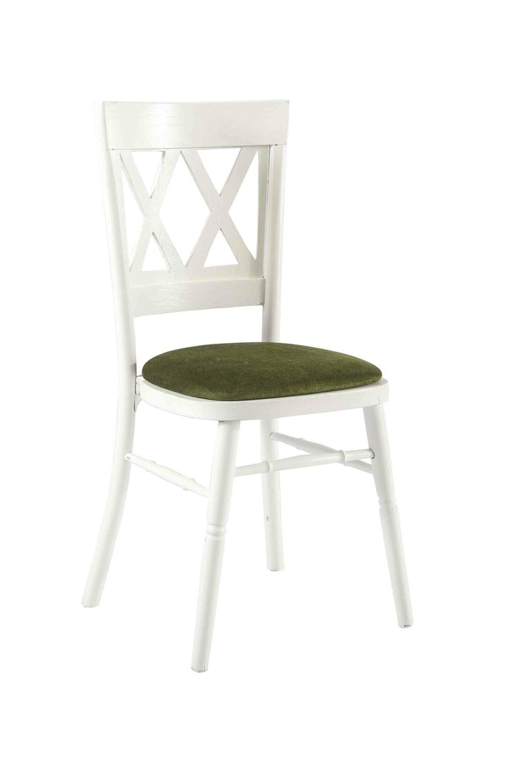 White Vienna with Green Seat Pad, a Contemporary designed stackable wooden chair, shown here with a Green seat pad but is also available in various coloured seat pads. http://www.eventhireonline.co.uk/chairs/vienna