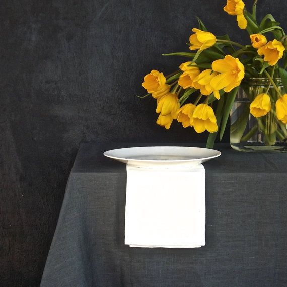 Washed heavy weight Linen Table Cloth in Dark Grey, made in the US from eco friendly European linen.