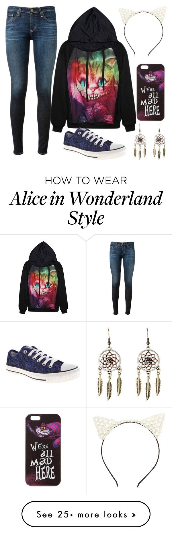 """Untitled #338"" by abigailduff on Polyvore featuring Charlotte Russe, AG Adriano Goldschmied, Disney and Converse"
