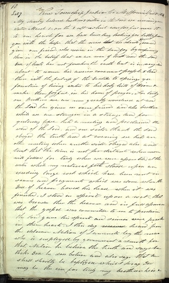 On 8 April 1831 Oliver Cowdery wrote to church leaders in Kirtland, Ohio, concerning the activities of the missionaries sent to the American Indians on the then-western border of the United States. After being delayed, Cowdery and his companions sought local employment while awaiting authorization to re-enter Indian territory. This communication was Cowdery's second from Missouri to his Ohio associates. Frederick G. Williams copied this letter into Letterbook 1 as early as January 1833.