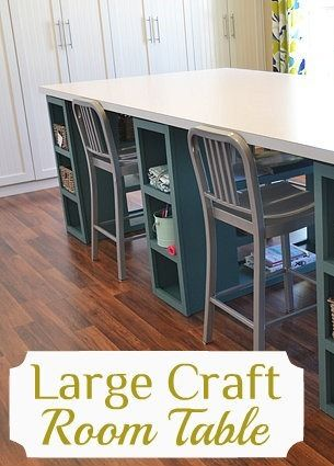 Large craft room table, doors across one wall to hide all my junk Www.phoebemade.etsy.com