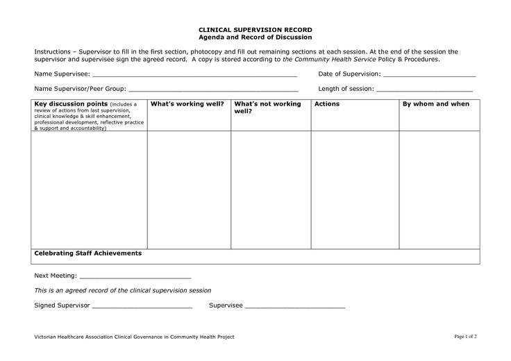 clinical supervision template | clinical supervision form template ...