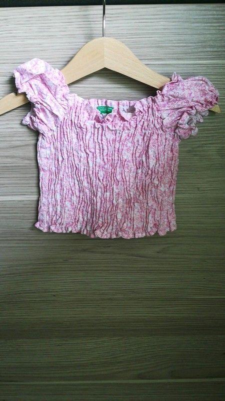 Schickes Zieh Shirt mit rosa Blumendruck von Benetton in Gr. 74