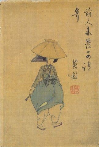 신윤복(申潤福). 전모쓴여인. 18세기. 수묵채색화. 비단에 채색. 19.1 x 28.2 cm. 국립중앙박물관 [네이버 지식백과] 전모쓴여인 [氈帽쓴女人] - 신윤복