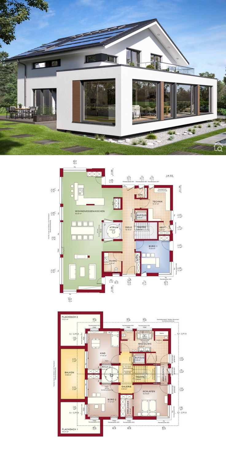 Prefabricated house modern with pitched roof & large bay window extension with balcony, floor plan off …   – HausbauDirekt