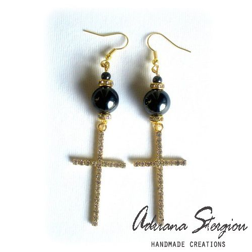 Earrings with big crosses with strass and hematite beads www.jewelmyday.gr  www.jewelmyday.eu