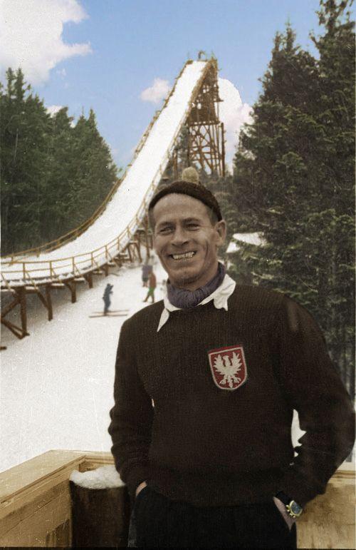 Karpacz (Orlinek), 1947-01-01. Inauguracja skoczni narciarskiej. Nz. Stanisław Marusarz.Karpacz (Orlinek), January 1, 1947. Ski jump opening. Pictured: Stanislaw Marusarz.