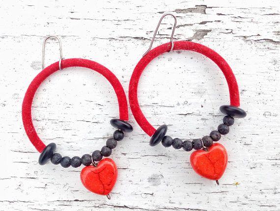 Heart Hoop Earrings Butterfly Earrings Red and Black Love