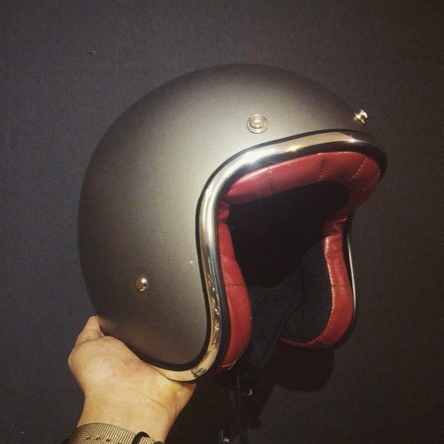 Boulter Silver Titanium Flat Helmet, with Red Leather and Black Suede comfort liner