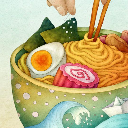 Ramen, details. Olga Svart Illustration
