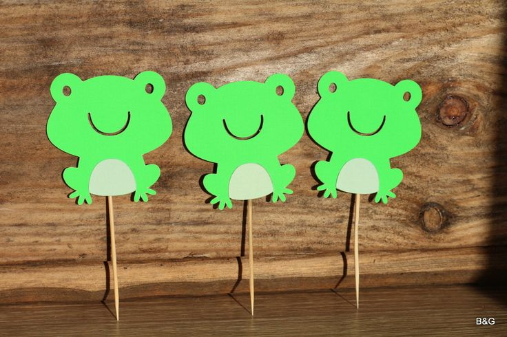 Critter party-Frog, 12-piece frog cutout, birthday party,first birthday, cupcake topper by EllyPartyShop on Etsy