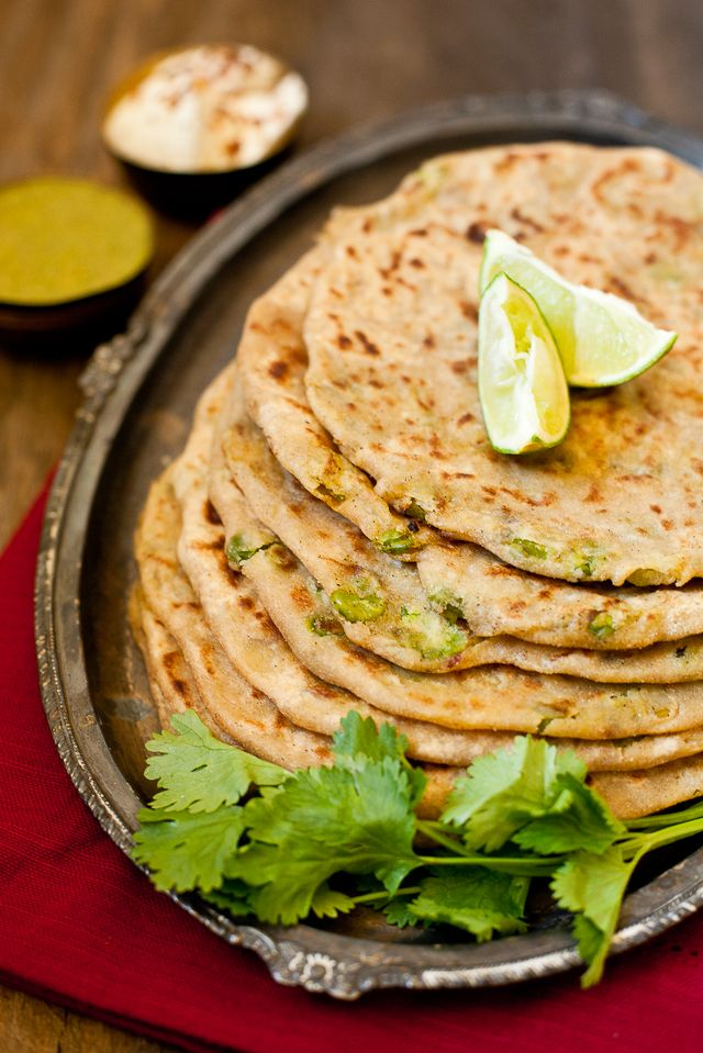 Aloo matar paratha (potato & pea stuffed pancakes)