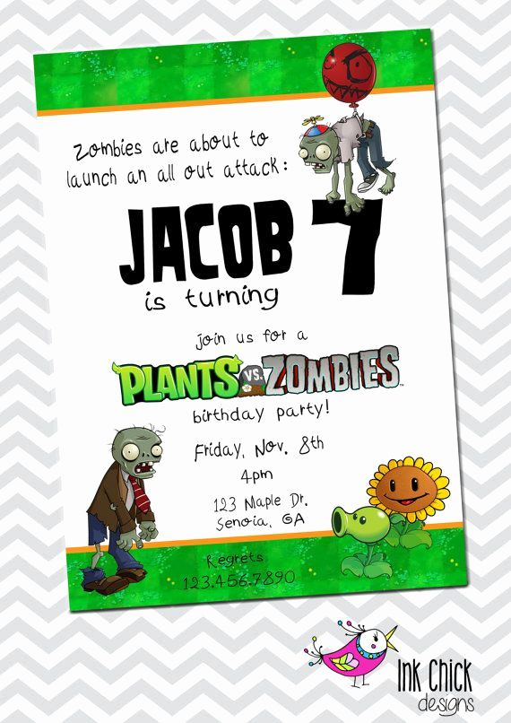 Plants Vs Zombies Invitation Template Best Of Plants Vs Zombies Birthday Invitation By Zombie Birthday Parties Zombie Birthday Plants Vs Zombies Birthday Party