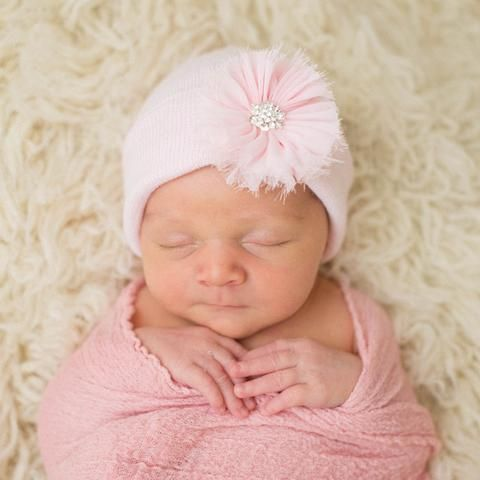 Pink Hat with Pink Frayed Flower Newborn Girl Hospital Hat - Pink Hat #Melondipity