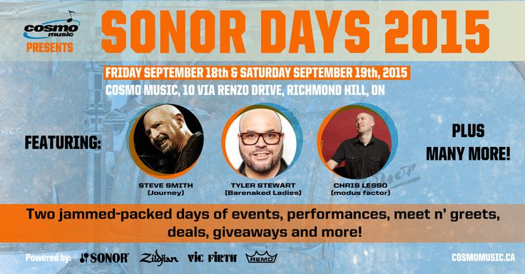 Cosmo Music presents Sonor Days 2015 on Friday, Sept. 18th and Saturday, Sept. 19th. This 2 day event includes a drum clinic, interactive workshop, masterclass, meet n' greets, drum deals, giveaways, and more. Don't miss this…http://bit.ly/sonor-days-2015