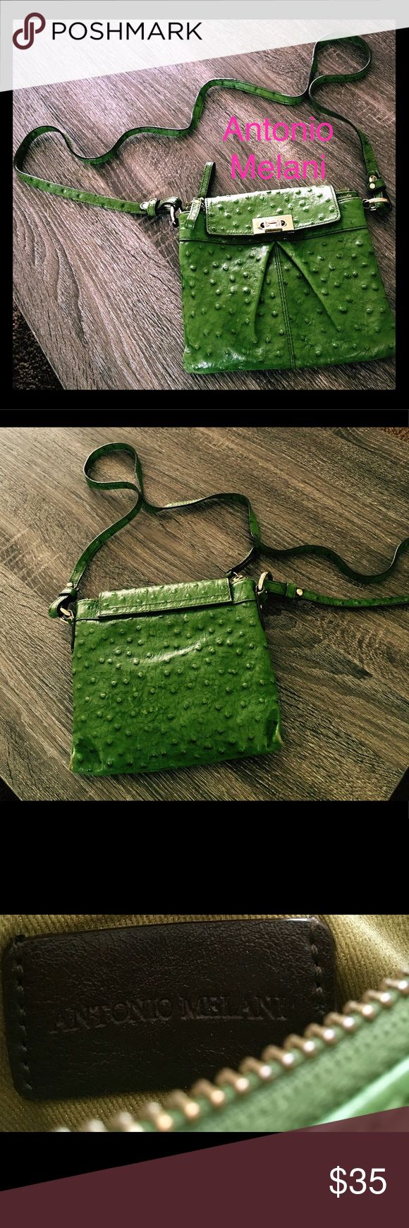 Antonio Melani Unique Green Leather Cross-Body Antonio Melani offered a mix of style, sophistication, designer elegance, and a pop of fun flair, when this cross-body was made. This purse is in GREAT condition, preloved with signs of minor wear (as pictured), but super cute! $35 OBO Please feel free to check out my other items and I offer bundle pricing! #AntonioMelani #Discount #Bundle #Cheap #Gift #Deal #Gift #Kotas ANTONIO MELANI Bags Crossbody Bags