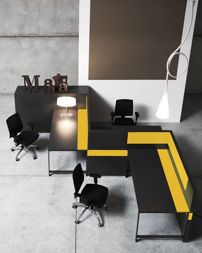 K_Word (by Manerba) consists of desks, free-standing partition walls and cabinets systems that have been studied to interact among themselves and to create flexible work environments which can be re-shaped in relation to the specific operative needs and competences that exist within a work team.