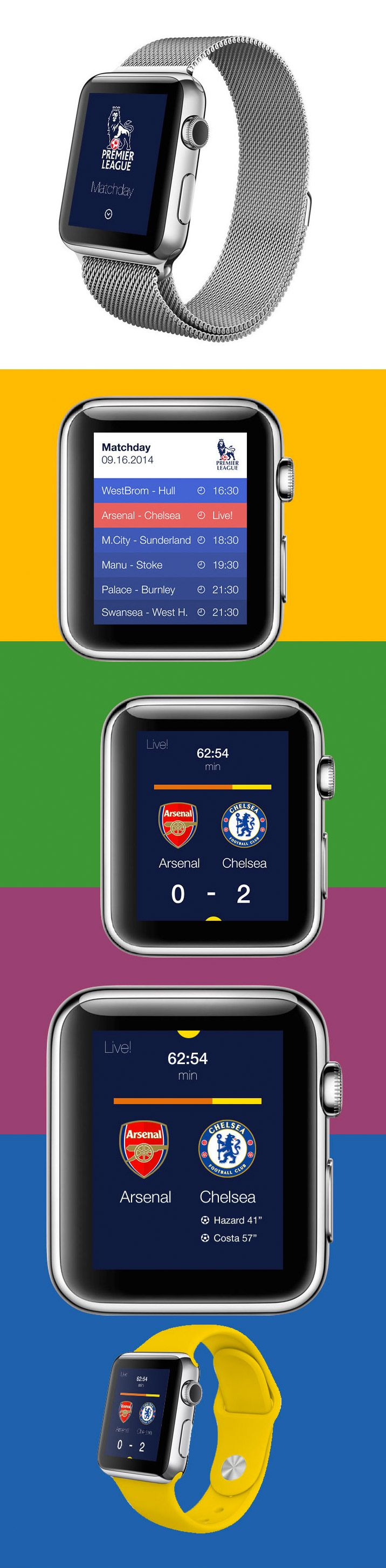 Apple Matchday smartwatch UI http://www.cssdesignawards.com/articles/23-smartwatch-ui-designs-concepts/114/