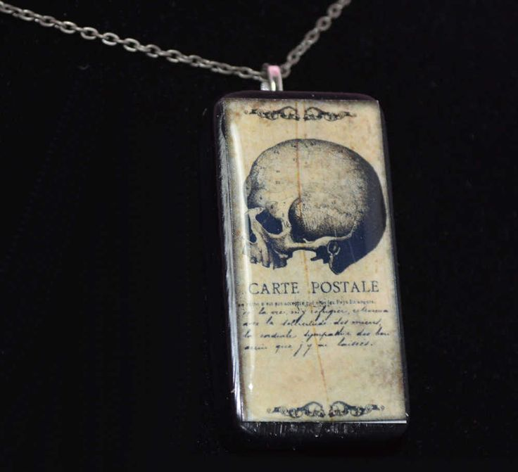 #Skull side view HALLOWEEN black Domino Pendant necklace ooak   #handmade #NecklacePendant