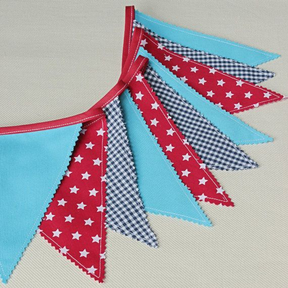 Fabric Banner, Baby Garland, Bunting Flags, Navy Bleu, Red, Nautical Nursery…