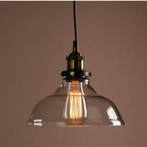 VINTAGE-INDUSTRIAL-pendente-luce-Loft-Antico-Vetro-Chiaro-Lampada-Soffitto