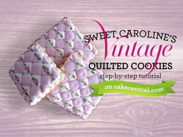 Vintage Quilted Cookie Tutorial Tutorial on Cake Central Very Cute - Very Time Consuming!  Wish I wasnt so impatient!