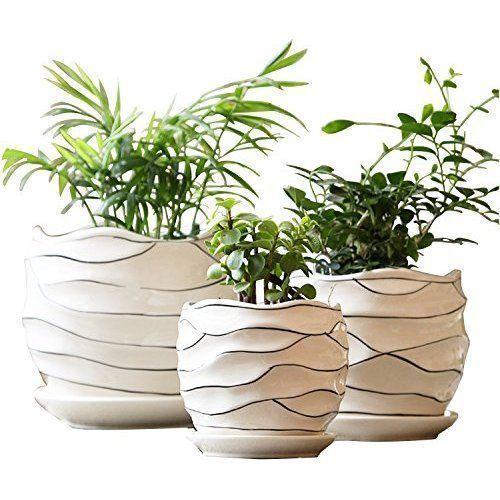 White Ceramic Garden Flower Plant Pot Succulent Cactus Plant Pots 4 6 7 Inch Set Of 3 White Stripe Wave Plastic Flower Pots Flower Garden Plants