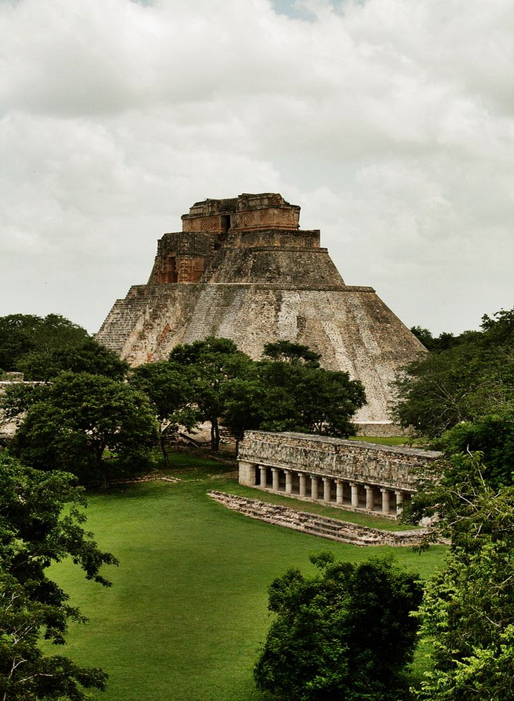 The Pyramid of the Magician in the ancient maya city of Uxmal, Mexico.