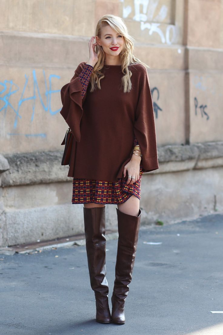 ohhcouture.com   Mmissoni print dress, layering, oversized cashmere sweater, over the knee boots, overknees, brown, leather, Chloé Faye bag   #MFW #ohhcouture