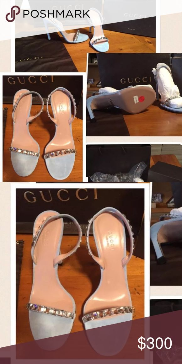 "Gucci cristallo sling back heels New with box Gucci sling back heels . Blue suede leather , tan leather insole, ""Gucci made in Italy "" embossed sole . The strap over The toes and the slingback have a row of large square shaped diamond looking decorations. Back of the slang has stretch material for comfort. Item number 370462 Gucci Shoes Heels"
