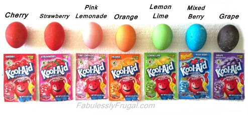 http://fabulesslyfrugal.com/?p=196832  Get vibrant colored Easter Eggs using Kool-Aid to dye them.  It's easy, smells good and does not require vinegar!