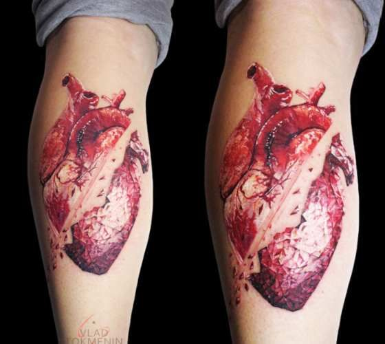 Awesome black and red tattoo art works of Broken Heart motive done by tattoo artist Vlad Tokmenin