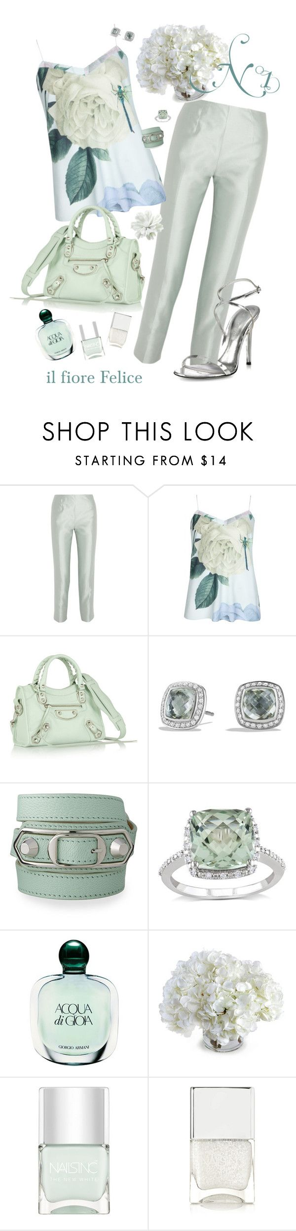 """N°1 Look, Rugiada del Mattino"" by ilfiorefelice ❤ liked on Polyvore featuring Raoul, Ted Baker, Balenciaga, David Yurman, Miadora, Giorgio Armani, New Growth Designs, Nails Inc., Tamara Mellon and Spring"