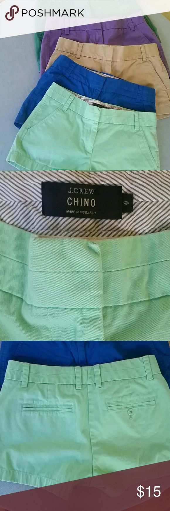 JCrew mint green shorts All cotton, 3 inch inseam. See other listings for additional colors & sizes. J. Crew Shorts