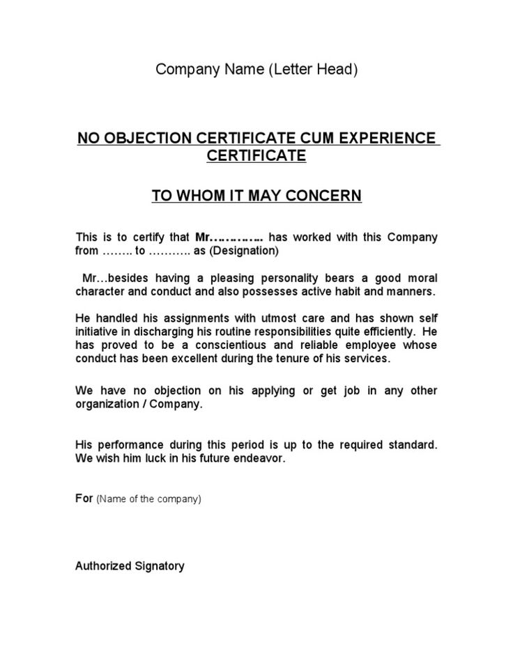 Image result for noc from company format business letter