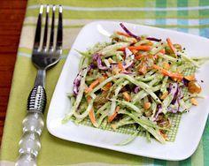 Recipe for broccoli slaw salad with honey-mustard yogurt dressing {vegetarian, gluten-free} {http://www.theperfectpantry.com/}l