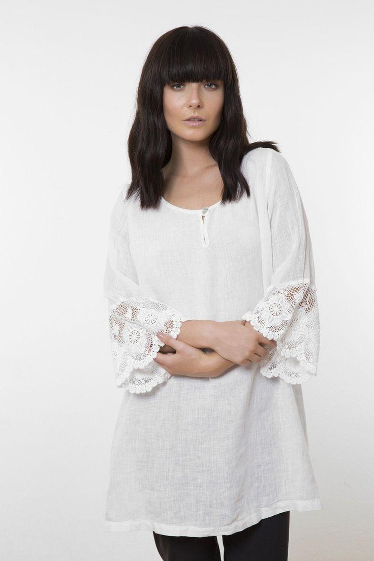Valia - White Lace Sleeve Linen Blouse - Vl612