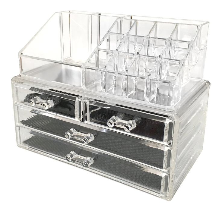 Acrylic Makeup Organizer Cosmetic Organizers Jewelry and Cosmetic Storage Grid Holders Durable Plastic Case Cabinets Display Box Colorless Two Piece Set with Removable Black Mesh Padding (4 Drawers)