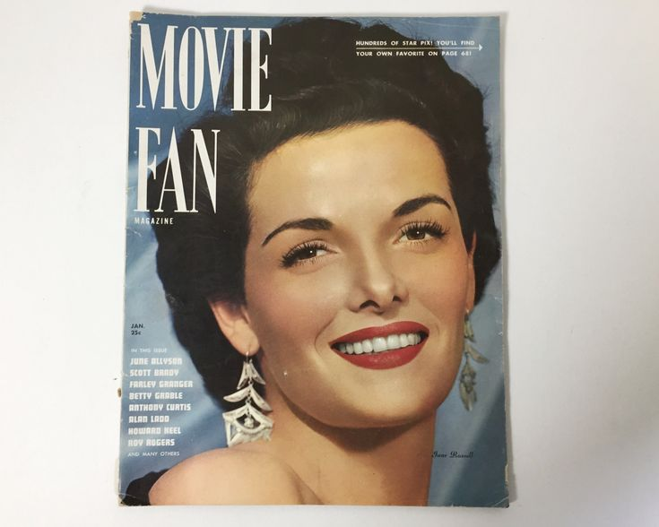 Vintage Movie Fan Magazine - January 1948 - Cover Jane Russell -  inside Betty Grable, Lucille Ball, Marlon Brando, Tony Curtis, Alan Ladd by BagBagSydVintage on Etsy