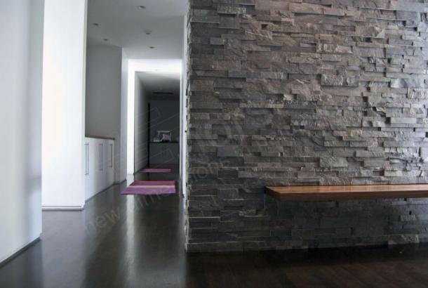 Charcoal XL Rock Panel | Large Format Natuurlijk gestapelde stenen fineer voor Wall Bekleding